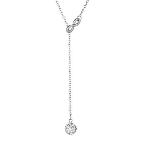 Cheap Number Eight Shape Rhinestoned Ball Pendant Necklace - SILVER  Mobile