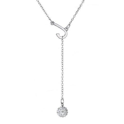 Hot Exquisite J Shape Rhinestoned Ball Pendant Necklace For Women