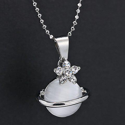 Fashion Faux Crystal Rhinestone Planet Pendant Necklace - SILVER  Mobile