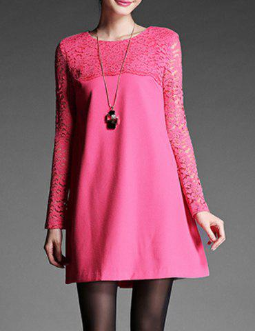 Hot Chic Round Neck Long Sleeve Lace Spliced Pure Color Women's Dress