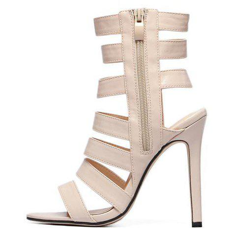 Fashion Zip Side High Heel Strappy Sandals - 38 APRICOT Mobile