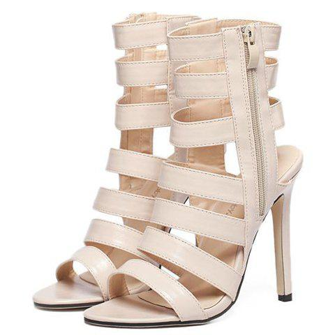 Fashion Zip Side High Heel Strappy Sandals - 37 APRICOT Mobile