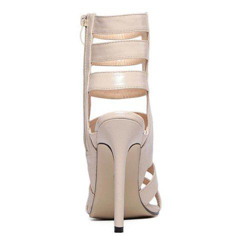 Sale Zip Side High Heel Strappy Sandals - 37 APRICOT Mobile