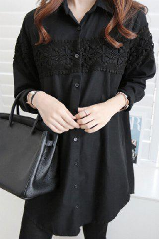 Trendy Shirt Collar Loose-Fitting Long Sleeve Lace Shirt BLACK XL