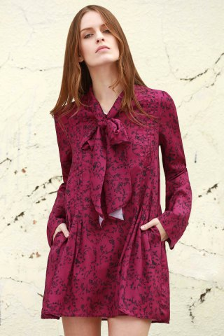 Hot Stylish Long Sleeve Tiny Floral Print Women's Dress PURPLE M