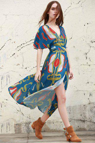 Outfits Stylish Plunging Neck Half Sleeve Abstract Print Women's Dress BLUE L