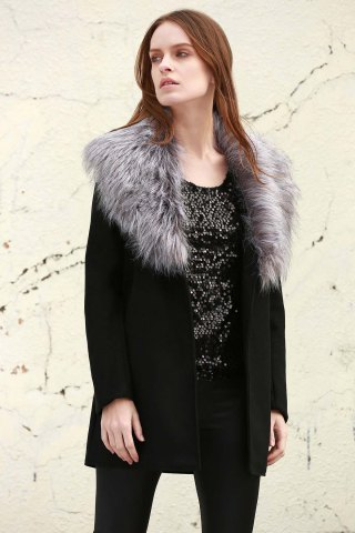 New Stylish Boohoo Shawl Faux Fur Collar Women's Coat - L BLACK Mobile