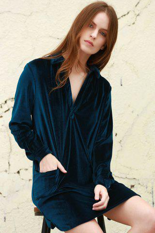Cheap Cozy Velvet Long Sleeve Button Down Shirt Dress - L CADETBLUE Mobile