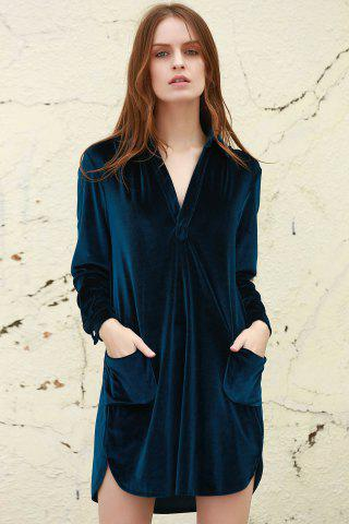 Fashion Cozy Velvet Long Sleeve Button Down Shirt Dress - L CADETBLUE Mobile