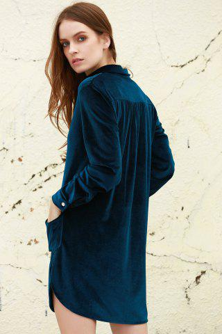 Sale Cozy Velvet Long Sleeve Button Down Shirt Dress - L CADETBLUE Mobile