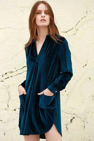 Unique Cozy Velvet Long Sleeve Button Down Shirt Dress - L CADETBLUE Mobile