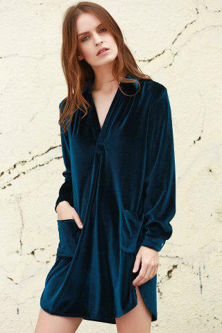 Buy Cozy Velvet Long Sleeve Button Down Shirt Dress - L CADETBLUE Mobile