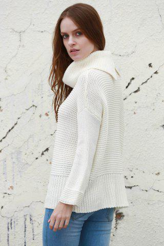 Outfits Split Turtleneck Pullover Sweater - M WHITE Mobile