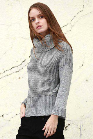 Discount Split Turtleneck Pullover Sweater - M LIGHT GRAY Mobile