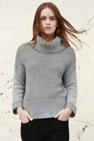 Shop Split Turtleneck Pullover Sweater - M LIGHT GRAY Mobile