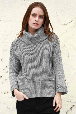 Hot Split Turtleneck Pullover Sweater - M LIGHT GRAY Mobile