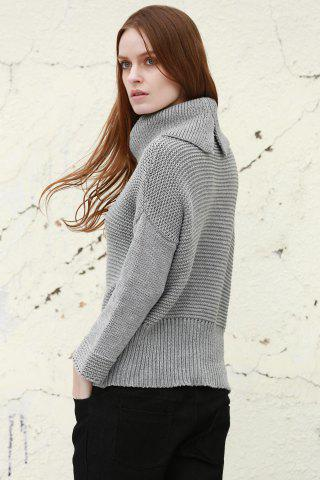 Outfits Split Turtleneck Pullover Sweater - M LIGHT GRAY Mobile