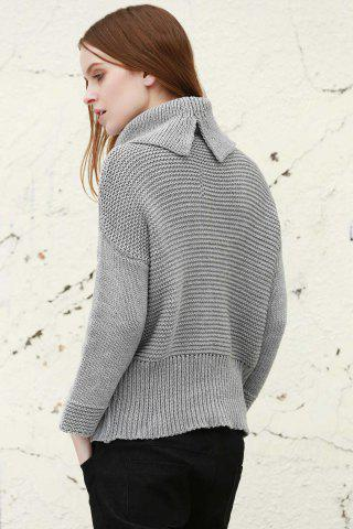Trendy Split Turtleneck Pullover Sweater - S LIGHT GRAY Mobile