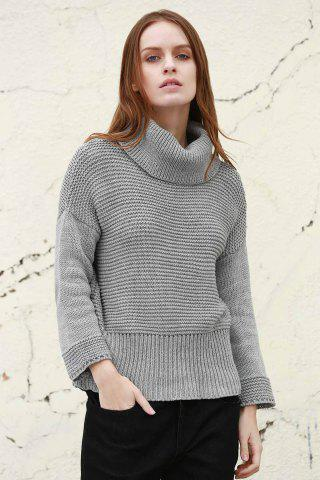 Discount Split Turtleneck Pullover Sweater - S LIGHT GRAY Mobile