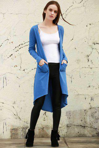 Chic V Neck Long Sleeve Blue Long Knit Cardigan - S BLUE Mobile
