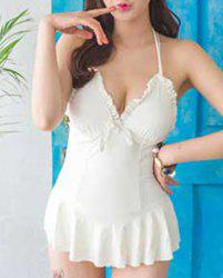 Alluring Halter Solid Color Open Back Swimsuit For Women -