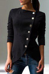 Fashionable Solid Color Round Collar Skew Buttoned Slit Coat For Women -