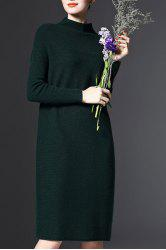 Stand-Up Collar Long Sleeve Loose Jumper Dress - GREEN