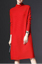Stand-Up Collar Long Sleeve Loose Jumper Dress