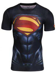 Fitted Superman Costume Print Round Neck Short Sleeve Quick-Dry T-Shirt For Men -