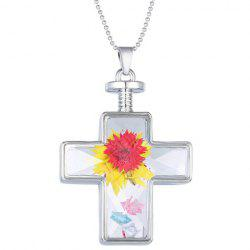Exquisite Cross Shape Glass Cover Dry Flower Pendant Necklace For Women