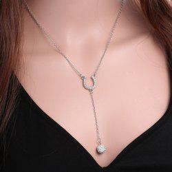 Exquisite U Shape Horseshoe Rhinestoned Ball Pendant Necklace