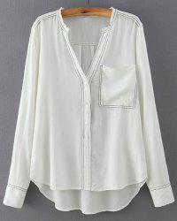 Stylish V-Neck Long Sleeves Loose-Fitting Blouse For Women -