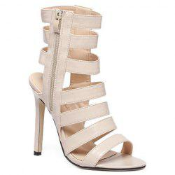 Zip Side High Heel Strappy Sandals - APRICOT