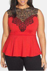 Chic Sleeveless Lace Splicing Pleated Plus Size Blouse  For Women