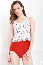 Sexy V-Neck   Printed Flounced Two Piece Swimsuit For Women