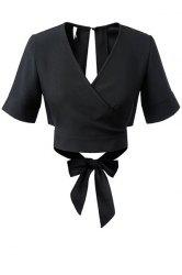 V Neck Black Bowknot Self Tie Crop Blouse