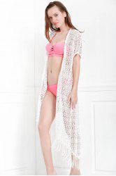 Collarless Long Swimsuit Kimono Cover-Ups
