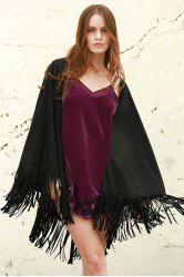 Faux Leather Fring Shawl - BLACK S