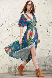 Stylish Plunging Neck Half Sleeve Abstract Print Women's Dress