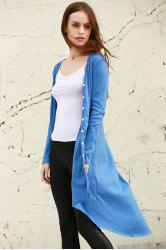 Stylish V Neck Long Sleeve Blue Women's Cardigan - BLUE