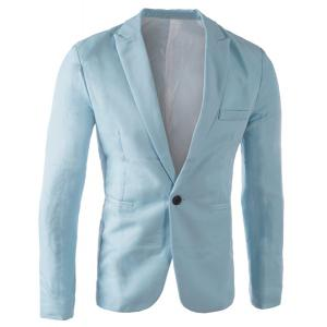 Casual Tailored Collar Single Button Solid Color Blazer For Men - Light Blue - M