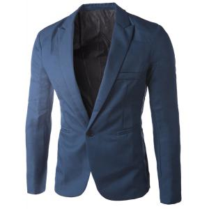 Casual Tailored Collar Single Button Solid Color Blazer For Men - Sapphire Blue - Xl