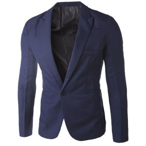 Casual Tailored Collar Single Button Solid Color Blazer For Men - Cadetblue - M