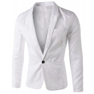 Casual Tailored Collar Single Button Solid Color Blazer For Men - White - M