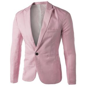Casual Tailored Collar Single Button Solid Color Blazer For Men - Pink - 2xl