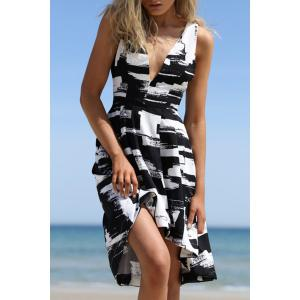 Stylish Plunging Neck Print A Line Women's Dress