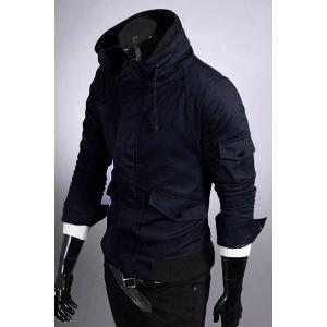 Casual Slim Fit Pokets Zip Up Solid Color Jacket For Men -