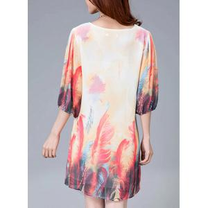Stylish Scoop Neck Feather Print 3/4 Sleeve Dress For Women -