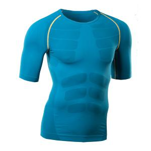 Round Collar Pullover Quick-Dry Tights Color Block Cycling T-Shirt For Men -