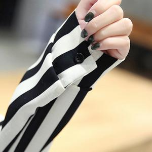 Trendy Long Sleeve Stripe Spliced Women's Dress -